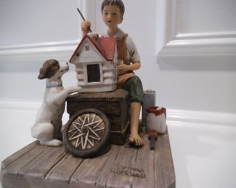 """Norman Rockwell Original Porcelain Figurine Titled """"A DollHouse For Sis"""""""