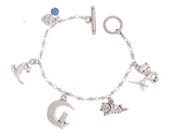 Stainless Steel Bracelet - Cats with a birth stone