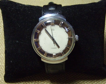 Vintage Soviet Mens Watch East Olympic, Steampunk, Vostok 2409A, 17 Jewels, 1980's White Dial, Leather Strap, Soviet East
