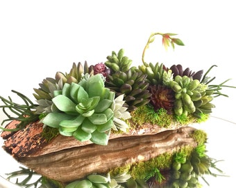 Succulent Arrangement, Artificial Succulent Grapewood Driftwood Centerpiece Lined with Copper Leaf Rustic Décor