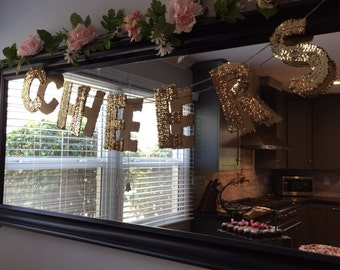 Cheers Gold Sequin Banner on Twine