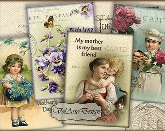 Mother's Day - digital collage sheet - printable download - gift tags - set of 8