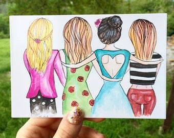 Friendship Fashion Illustration, Fashion Art, Chic Wall Art, Unique Fashion Illustration Print, Art Print, Wall Art Decoration, Postcard