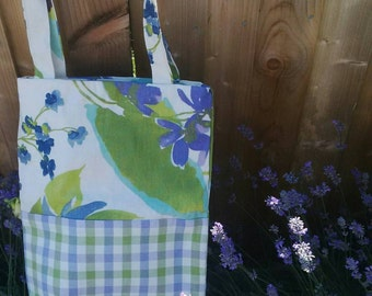 Large bucket style tote bag - lavender and green