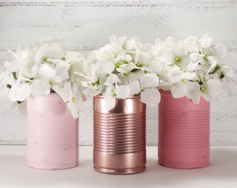 3- Hand Painted GLASS TIN CAN Flower Vases-Country Decor-Cottage Chic-Shabby Chic-French Chic