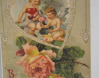Be My Valentine Vintage Postcard with two beautiful Cupids and Roses!