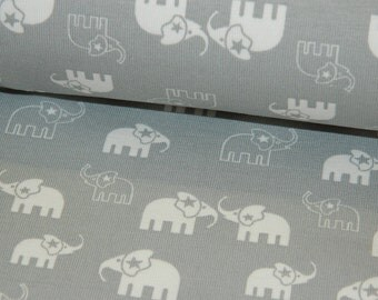 Jersey Cotton Jersey elephant elephants gray white fabric by the metre bloomers Beanie