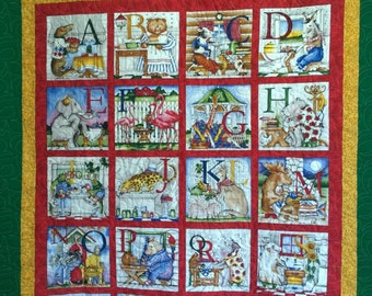 Hungry Animals Alphabet quilt, crib, youth, educational quilt.    Shower, Birthday, Special Occasion gift!  Learn the alphabet in a fun way.