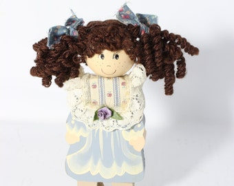 Wooden Doll Figurine / Vintage Brown Curly Hair Country Look Doll Hand Painted