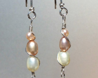 Freshwater Pearl Earrings with Sterling Silver Wire