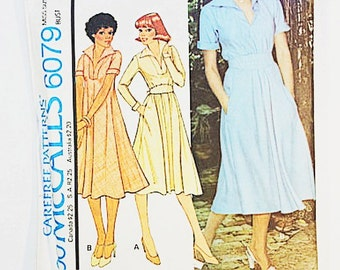70s Day Dress Pattern | McCall's 6079 Misses Dress Pattern | 1978 Sewing Pattern