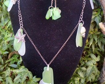 Sea glass necklace and earrings Beautiful Greens