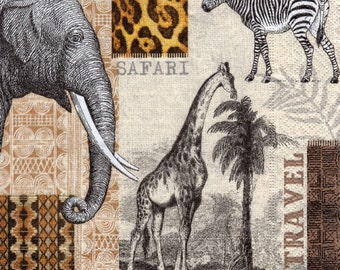 Decoupage Paper Napkins African Africa Wild Life Animals (1x Napkin) - ideal for Decoupage, Collage, Mixed Media, Crafts