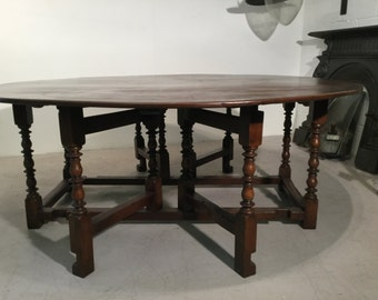 10-12 Seater Drop Leaf Table, Solid Oak