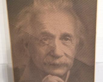 Halftone carving of Albert Einstein