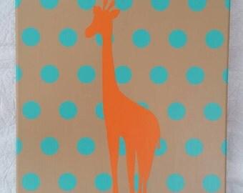 Polka Dot and Giraffe handmade canvas 12x16
