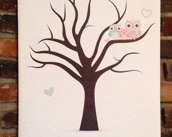 Fingerprint Guestbook Tree Alternative, Baby Shower Fingerprint Tree Guestbook ,Canvas Wedding Guestbook Fingerprint Tree, canvas babyshower