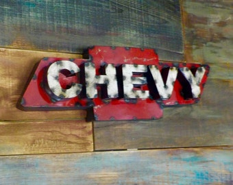 Rustic Metal Chevy Sign