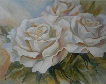 Original Oil Painting Write rose Flower painting Wall art Gift for mom Universal gift