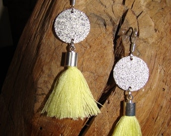 Earrings silver and yellow Pompom