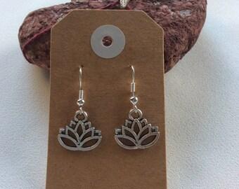 lotus flower Buddhism earrings hippy boho handmade jewellery