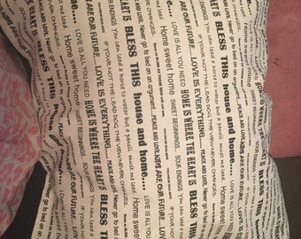 Hand made quote pillow