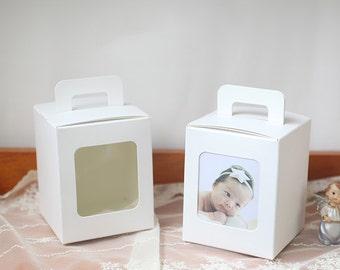 10 Small window gable boxes, small gable box, small white gable box, wedding favor box, gift box, baby shower favor box, party favor boxes