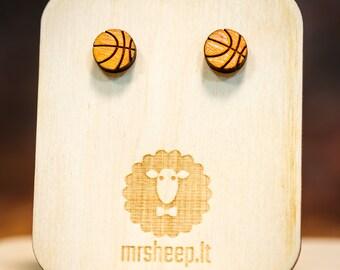 Basketball earrings - laser cut - silver stud and hook