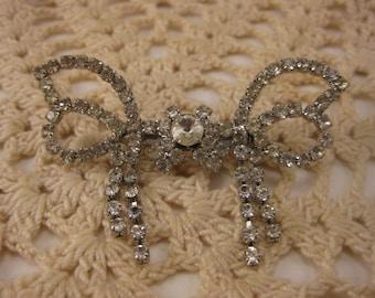 Vintage Jewelry, Vintage Brooch, Vintage Pin, Vintage Rhinestone, Vintage Bow, Rhinestone Bow, Wedding Brooch, Bride Gift, Bridal Brooch