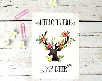 Postcard Boho Floral My Deer