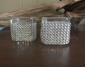 Set of 10 silver bling votive holders