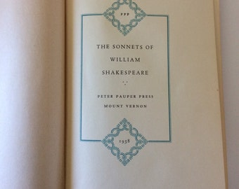 The Sonnets of William Shakespeare, 1938, Vintage Shakespeare Book, Vintage Poetry