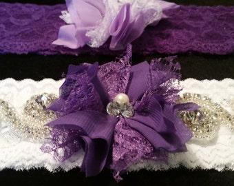 Rhinestone Bridal Purple and white Garter Set
