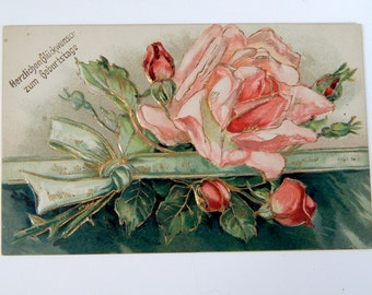 Post Card German Greeting Birth Congratulations Gilded Rose Embossed 1900