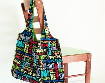 dinosaur full cotton tote bag market bag nappy bag *MADE TO ORDER*