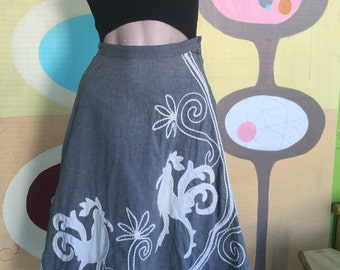 Amazing 1950s Circle Skirt with Rooster Applique
