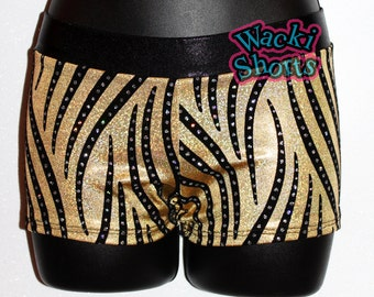Glittery Gold and Black - Wacki Shorts  - Cheer, Gymnastics, Yoga, Dance