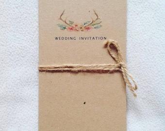 Floral stag wedding invitation rustic