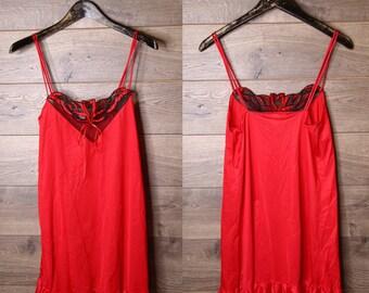 vintage Red slip dress #1