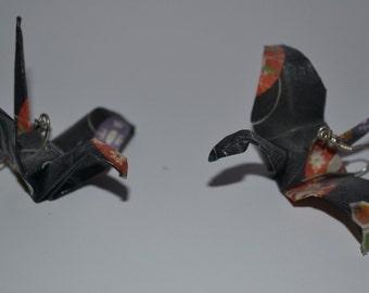 Earrings hanging crane origami