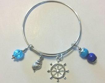 Nautical bangle bracelet with 4 charms