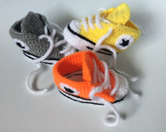Sneakers Baby Converse Crochet, Crochet Baby Shoes, Crochet Baby Booties, Baby Boy Shoes,  for baby 0-3 , 3-6, 6-9, 9-12 months