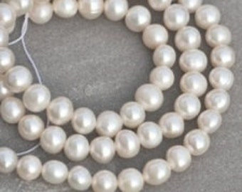 5-6mm Creamy White Potato Freshwater Pearls