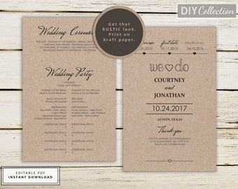 Wedding Program Fan Printable, Rustic Wedding Program Template, kraft wedding program, Instant Download, Editable Template #GD_WP114