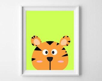 Tiger Print | Tiger Nursery Print | Animal Nursery, Playroom Print | Nursery, Child Room Decor | Digital Download