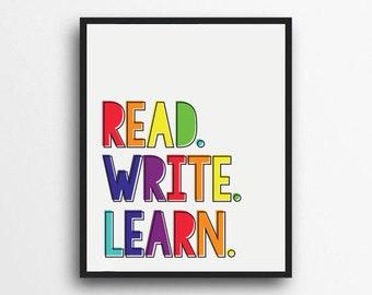 Read Write Learn Print | Rainbow Print | Teacher Decor, Classroom Print | Classroom Decor | Learning Print | Digital Download