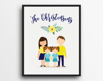 CUSTOM Single Family Portrait | Digital Portrait | Graphic Art Family Portrait | Personalized Digital Family Portrait | Digital Download