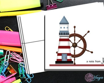 Personalized nautical Stationery / Custom lighthouse Stationery / Nautical Stationery Set / Boy Stationery / Set of 12 boy thank you cards