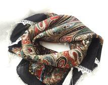 Authentic Russian shawl, Pavlov Posad Shawl, Crochet shawl, Lace shawl, Crochet edging scarf, Black Ornament Scarf. Made to order.