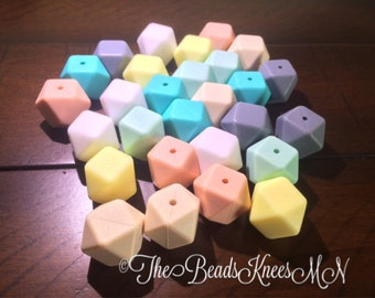 15% off SALE!!!! use code SUNSHINE15 at Checkout Bulk Hexagon Silicone teething beads mixed lot of  17mm